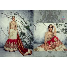 Georgette Pure Viscose Mix of Cream and Red lehenga and Choli