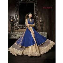 Designer Shilpa Shetty Original karma Blue Colour Dress with Golden White Net
