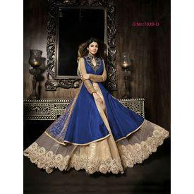 Designer Shilpa Shetty Original karma Blue Colour Dress with Golden White Net