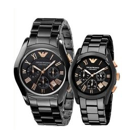 Imported Emporio ARMANI Men's AND Women's Black/Rose Gold Dial Ceramica Watch