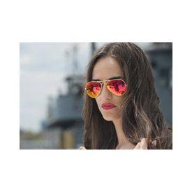 RayBan Orange Mercury Mirror Golden Framed Merqury Aviator Unisex Sunglasses