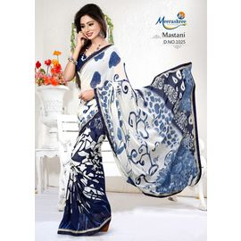 Meerashree mastani Blue White Digital Printed Saree with Blouse