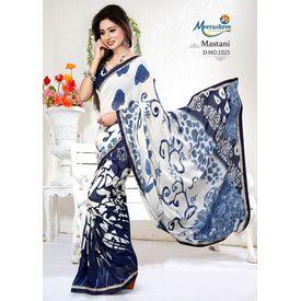 Meerashree mastani Blue White Digital Printed Saree with Blouse