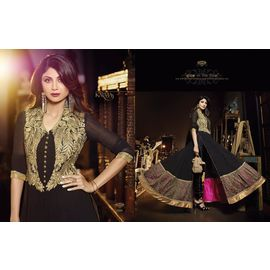 shilpa shetty Black Goldenish work Georgette embroidery work anarkali Yock dupatta