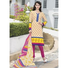 Stylish Cotton Suits - Beige Churidar Salwar Kameez