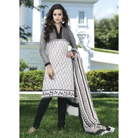 New Daily Wear Black & White Designer Cotton Salwar Suit with Dupatta
