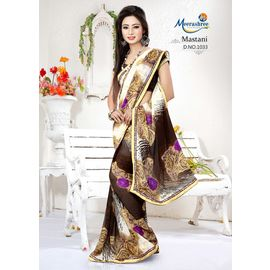Meerashree Mastani Designer Elegant White Brownish Flower Printed Saree with Blouse