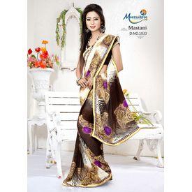 Meerashree Mastani Designer Elegant White Brownish Flower Printed Saree with Blouse
