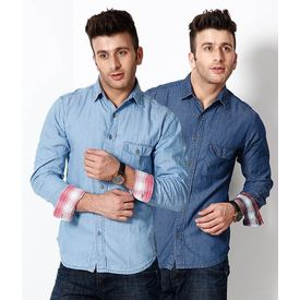 Combo of 2 Export Surplus Branded Denim Shirts, xl