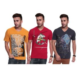 Export Surplus Branded Men's Printed V-neck T-shirt-pack Of 3-combo, xl