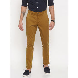 Export Surplus Branded Men Mustard Yellow Fit Solid Chinos, 34