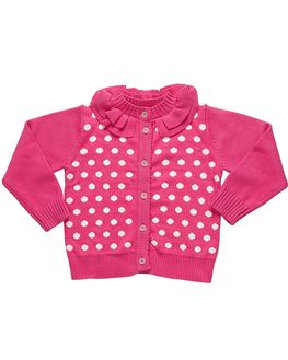 Bright Pink Baby Girl Cardigan, 2-4 months