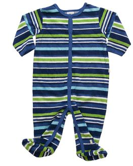 Bright Blue & Green 100% cotton knitted velour baby full length bodysuit with feet., 12 months