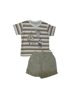 ToffyHouse Baby Boy Beige Brown & White striped tee with Beige Cord Shorts - Roar, 9-12 m