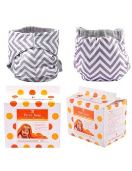 Bumchum Hybrid Cover Grey Chevron With 1 Reusable and Disposable Nappy Pads (24Pcs), 3 months - 6 months