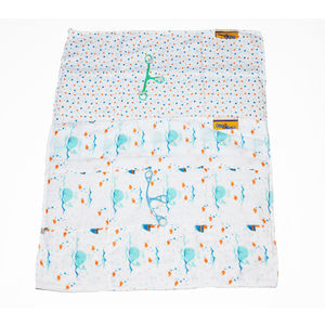 Muslin Pre Fold Diaper Flats with Snappi, boy