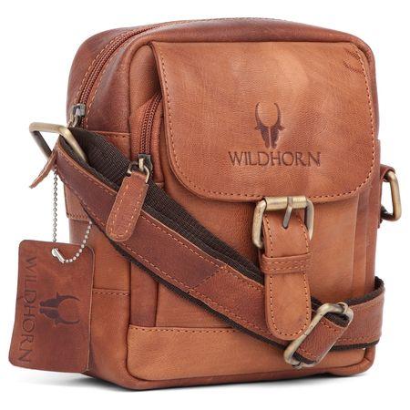 WildHorn Tan Vintage 100% Genuine Leather Messenger Bag For Men (TAN)