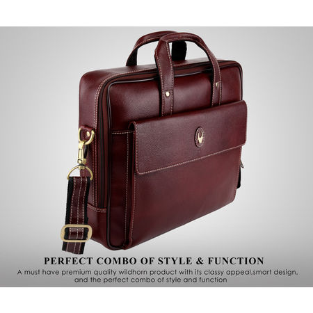 WildHorn Leather Brown Laptop Messenger Bag for Men