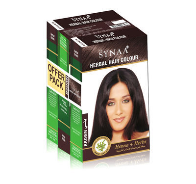 Synaa Herbal Hair Color Brown, Henna+ Herbs - No PPD (Pack of 3 - 240g)