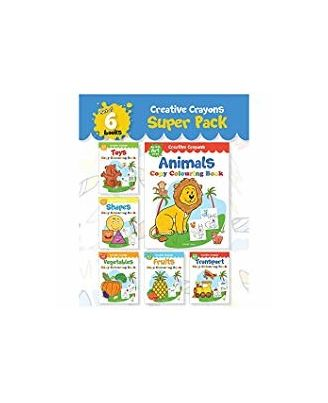 Colouring Books Super Pack: Creative Crayons Series- A Pack Of 6 Crayon Copy Colour Books