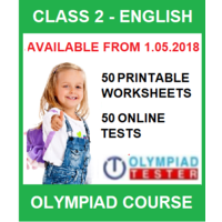 Class 2 English Olympiad Course with 50 Online tests and 50 Printable Worksheets
