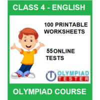 Class 4 English Olympiad Course with 100 Printable Worksheets and 55 Online tests