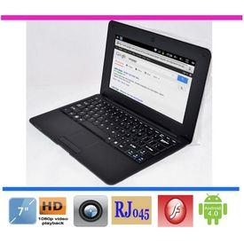 New 7  mini laptop VIA 8850 Android 4.0 windows CE optional netbook DDR3 RAM 1GB RJ45 USB ports WiFi Webcamera HDD 4GB