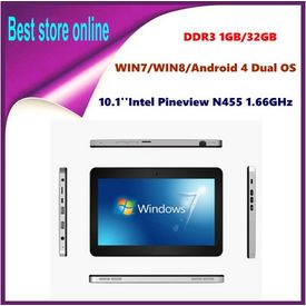 10.1 Inch Dual OS Windows 8 Windows 7 Android 4 Intel Pineview N455 1.66GHz DDR3 1GB 32GB The Wifi Bluetooth 1366* 768 Tablet PC