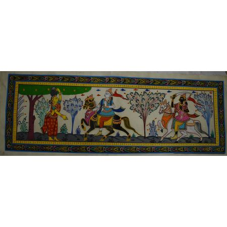 OHP013: Lord Jagannath, Lord Balabhadra and Manika Gauduni Story Patachitra Painting.