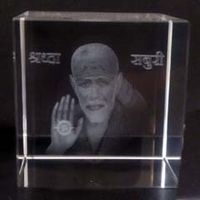 Shirdi Sai Baba image 3D engraved in Crystal cube