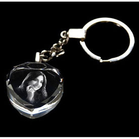 Personalized Photo engraved Crystal Heart Key Chain
