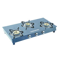 Sunshine Alfa MS Three Burner Toughened Glass Gas Stove, lpg, manual