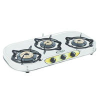 Sunshine VT-3 Three Burner Stainless Steel Gas Stove, lpg, manual
