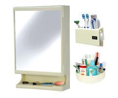 CiplaPlast Combo of New Look Multipurpose Bathroom Mirror Cabinet, Tooth Brush Holder & Multi-Purpose Container - Ivory