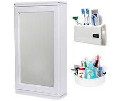 CiplaPlast Combo of Domino Bathroom Mirror Cabinet, Tooth Brush Holder & Multi-Purpose Container - White