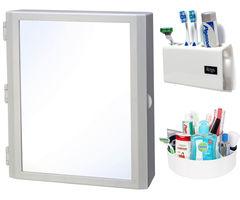 CiplaPlast Combo of Flora Multipurpose Bathroom Mirror Cabinet, Tooth Brush Holder & Multi-Purpose Container - White