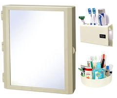 CiplaPlast Combo of Flora Multipurpose Bathroom Mirror Cabinet, Tooth Brush Holder & Multi-Purpose Container - Ivory