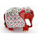 Wooden Elephant Silver Painted 2