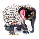 Wood Elephant Statue with Metal Work Painted, 6 inches