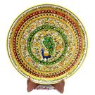 Marble Plate with Emboss Peacock Painting 4, 12 inches, 12 inches