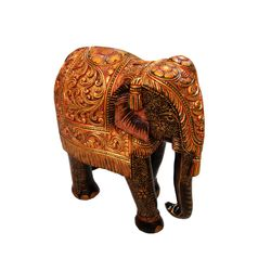 Wooden Elephant Statue Carved Painted For Home Decor, 15 inches