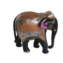Wooden Elephant Gold Silver Painted