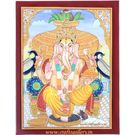 Craftsgallery Miniature Painting of Ganesha on Marble Tile