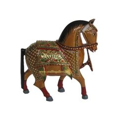 Wooden Horse Gold Painted Statue 8 inch