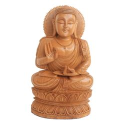 Buddha Blessing Wooden Statue, 16 inch