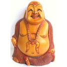 Wooden Laughing Buddha Painted, 8 inches