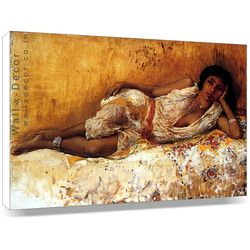 Girl lying on a cot - Canvas Art, 22 x 14 inch