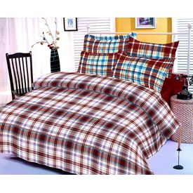 Brown and white checks cotton bedsheet with two pillow covers
