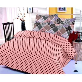 Pink cotton bedsheet with polka dotted print and two pillow covers