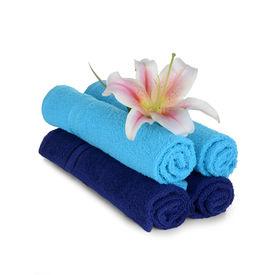 Navy blue and Sky blue hand towel set